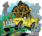 Big Foot driving a sedan.