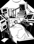 Person recovering in a futuristic hospital